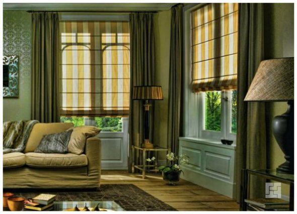 Римские шторы в интрере гостиной