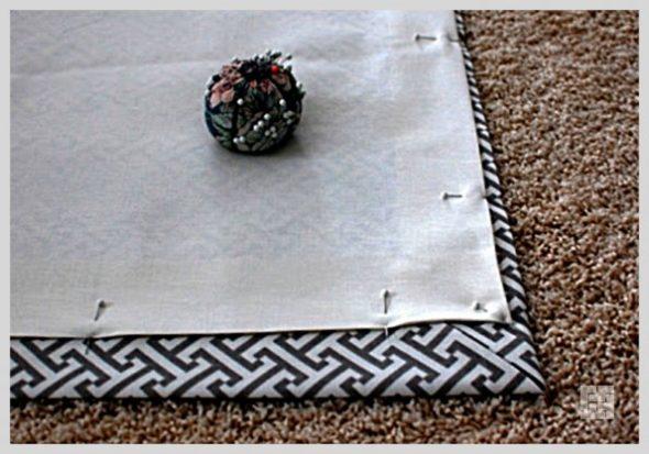 Притачивание подкладки к полотну для шторы