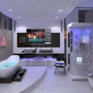 Пример дизайна ванной в стиле хай-тек