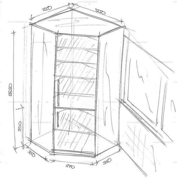 Эскиз типового углового шкафа