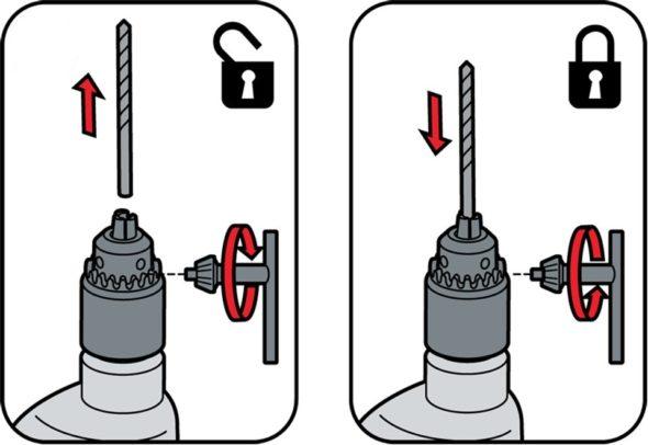 Замена сверла в ключевом патроне