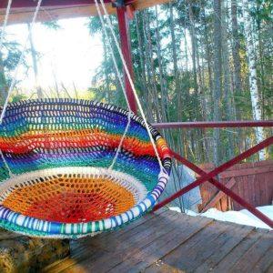 Подвесное кресло из обруча