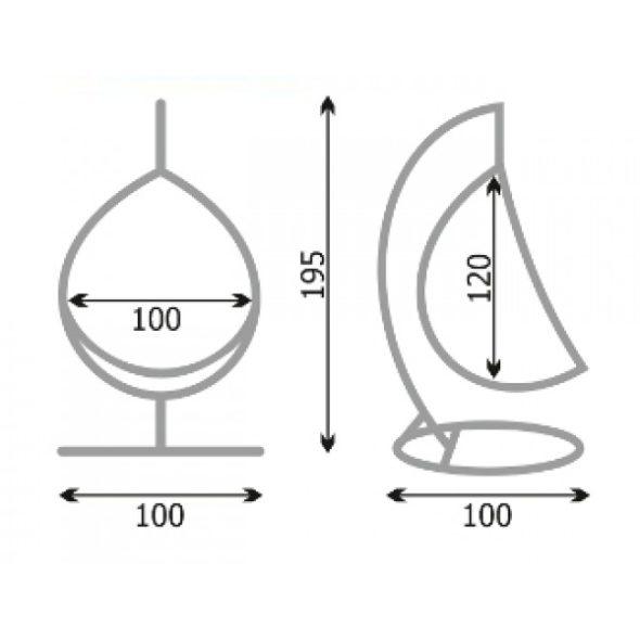 Схема и размеры кресла-кокона на ножке