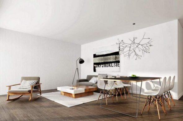 Дизайнерская люстра и деревянная мебель в интерьере гостиной