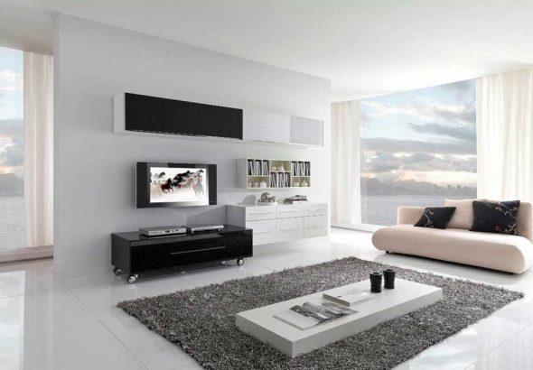 Гостиная с чёрной и белой мебелью