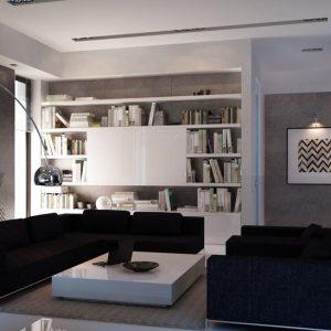 Серая гостиная в стиле минимализм
