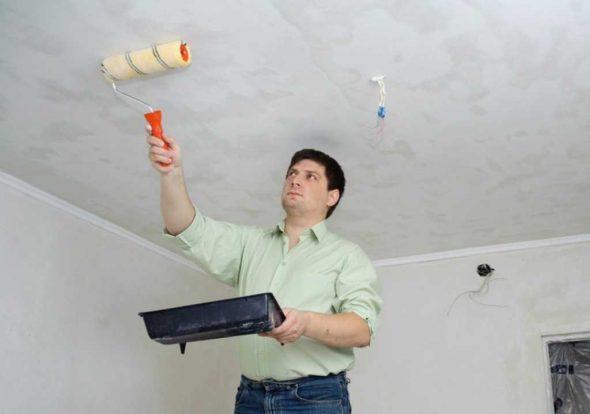 Грунтование потолка