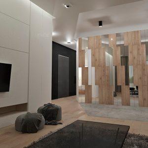 Зеркала и деревянные панели в оформлении стены в гостиной