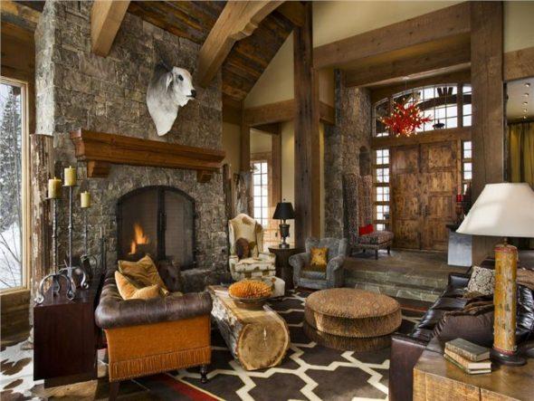 Декор интерьера гостиной в рустикальном стиле