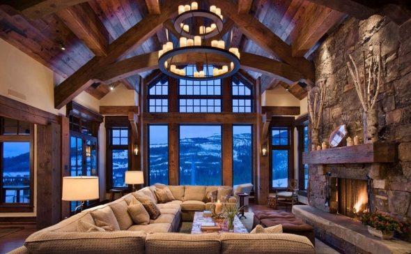 Декор интерьера гостиной в стиле рустик