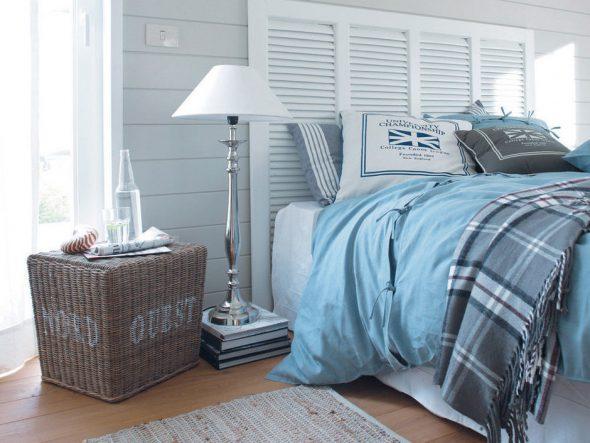 Декор интерьера спальни в морском стиле