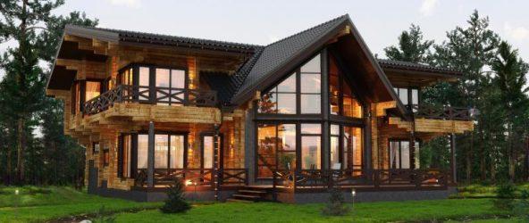 Деревянный дом с панорамными окнами