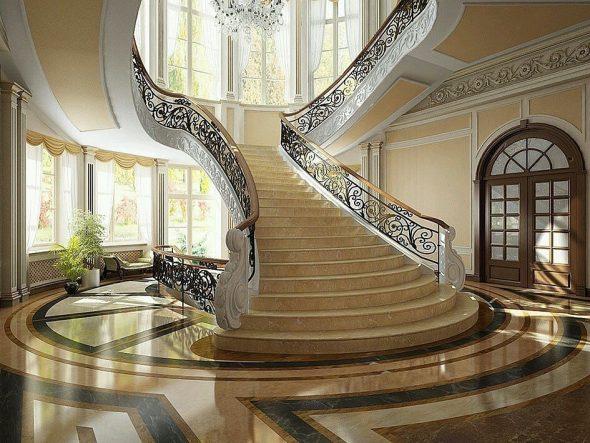 Большой холл и лестница с художественными перилами