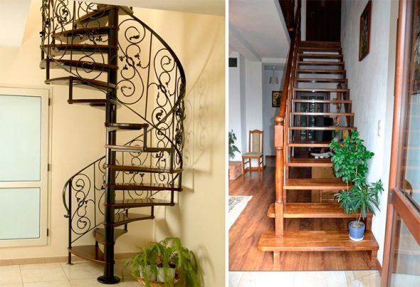 Небольшие лестницы в доме на второй этаж