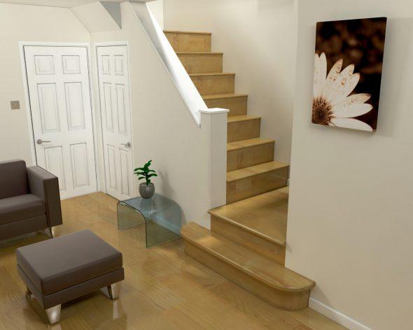 Небольшая гостиная с лестницей на второй этаж