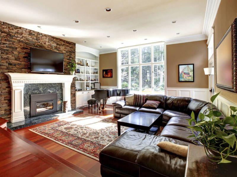 30 вариантов дизайна гостиной с камином