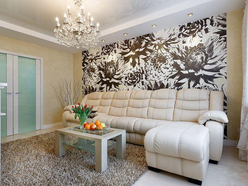 25 идей комбинирования обоев в интерьере гостиной