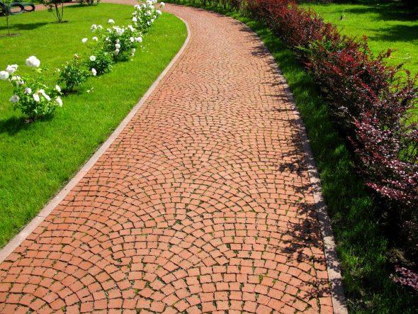 Дорожка их мелкой тротуарной плитки