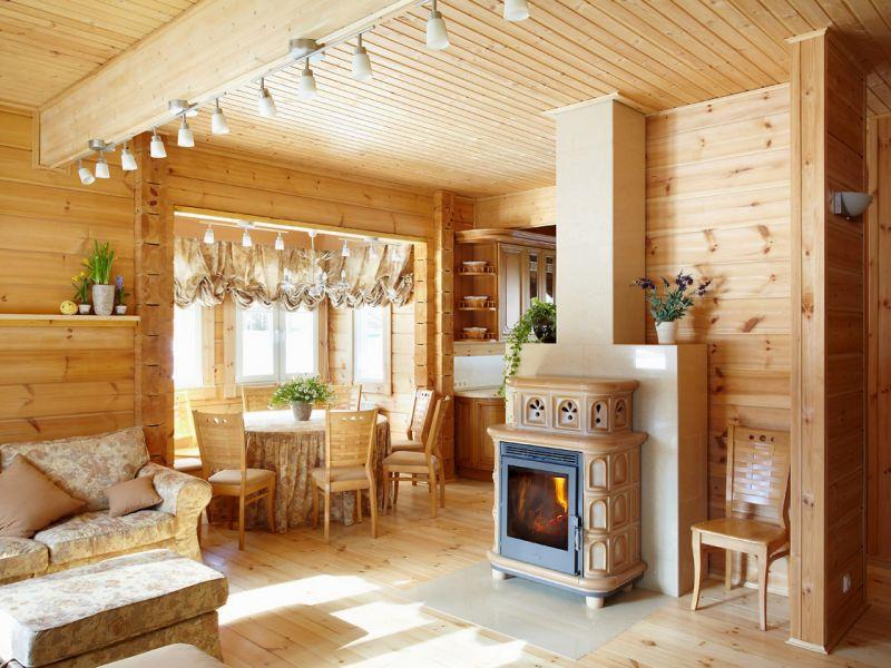 Интерьер в деревянном дома: 30 интересных идей