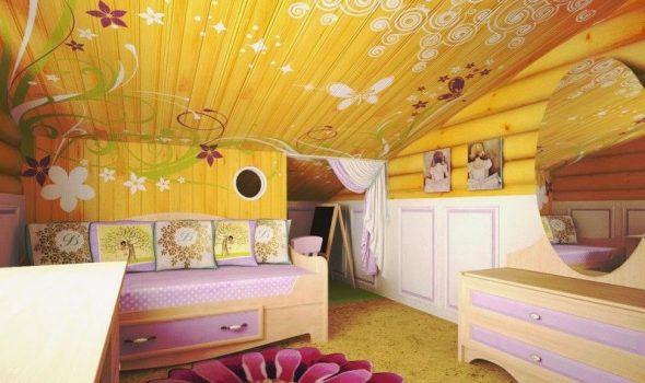 Дизайн детской комнаты в деревянном доме