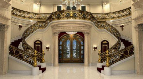 Большой холл с двумя лестницами в загородном доме