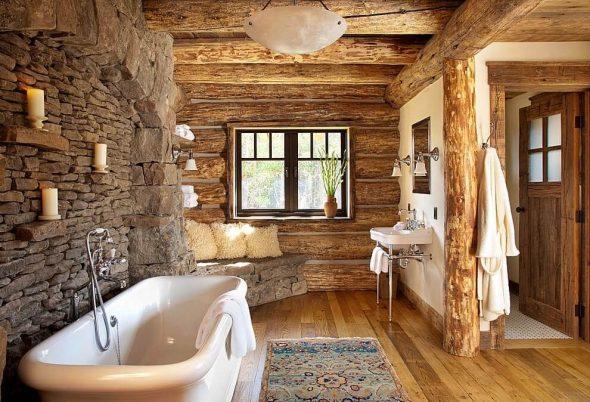 Декор интерьера ванной комнаты в стиле рустик