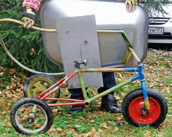 Тачка на основе детского велосипеда
