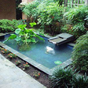 Дачный пруд с горизонтальным фонтаном