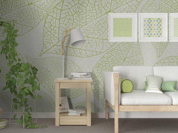 Дизайн гостиной со стеклообоями зеленого цвета