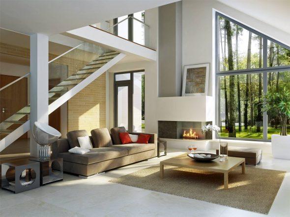 Дизайн холла-гостиной в загородном доме в стиле хай-тек