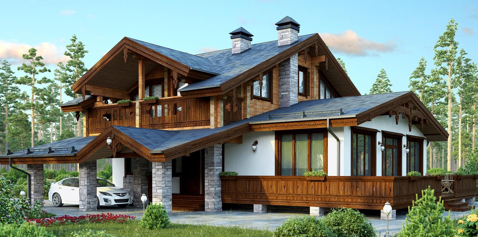 Интерьер загородного дома в стиле шале: 30 фото