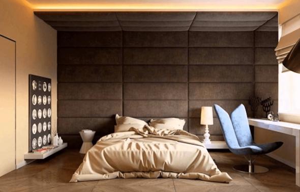 Оригинальная отделка стены в спальне