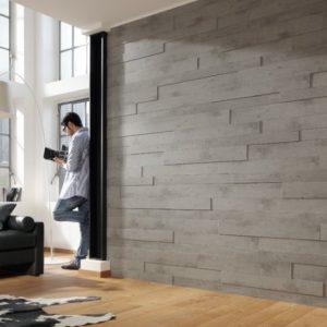 Стеновые панели под бетон в гостиной
