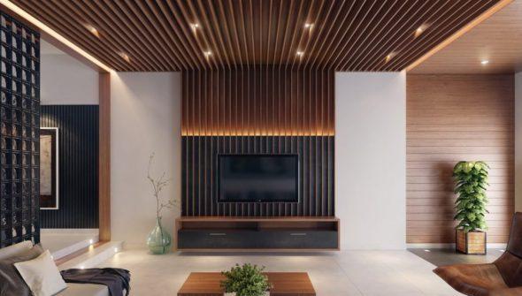 Реечные стеновые панели в интерьере гостиной