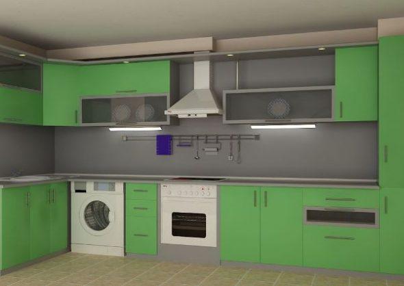Размещение стиральной машины на кухне