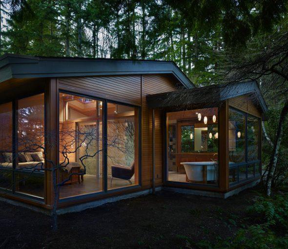 Дом с панорамными окнами в лесу