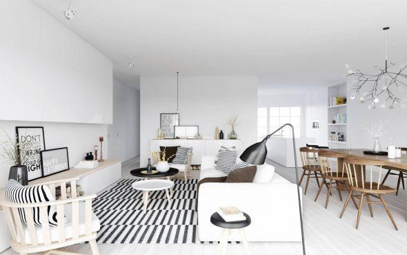 Дизайн светлой и просторной гостиной в скандинавском стиле