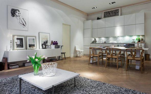 Дизайн кухни-столовой в скандинавском стиле