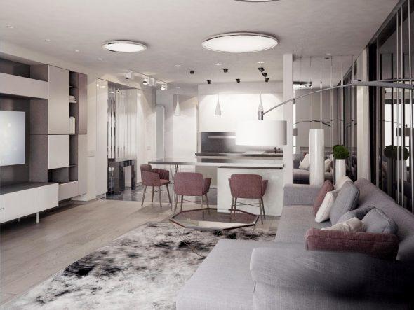 Стиль хай-тек в интерьер гостиной
