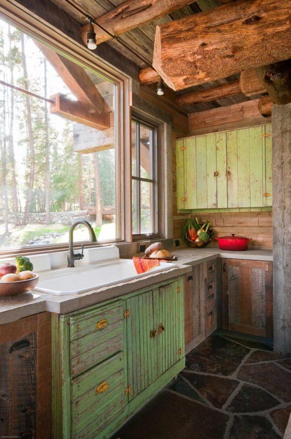 Мебель в стиле рустик на кухне