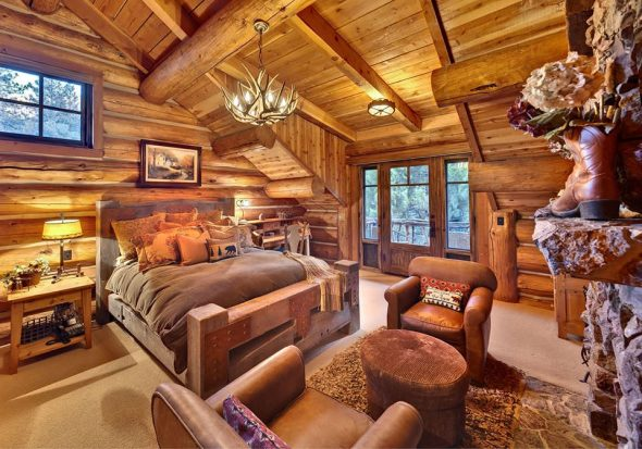 Интерьер спальни в стиле рустик