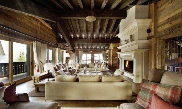 Интерьер гостиной в стиле рустик