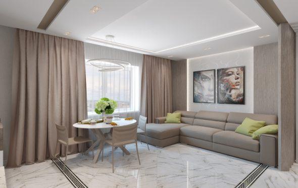 Современный дизайн гостиной в загородном доме