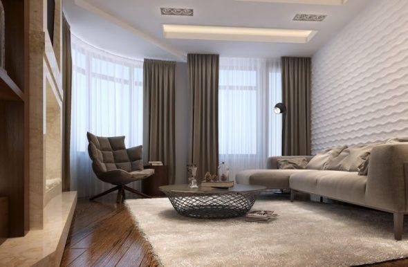 Отделка стен гостиной текстурированными стеклообоями