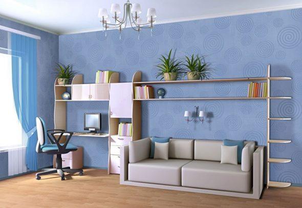 Стеклообои в интерьере комнаты