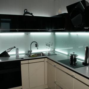Стеклянные стеновые панели в интерьере кухни