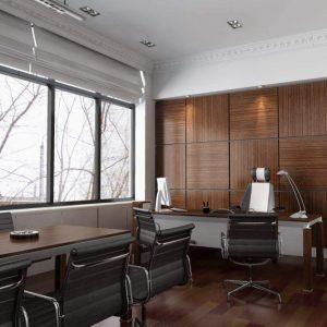Стеновые панели под дерево в интерьере рабочего кабинета