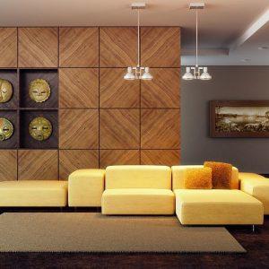 Стеновые панели в отделке гостиной