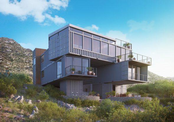 Большой многоуровневый дом, построенный из контейнеров