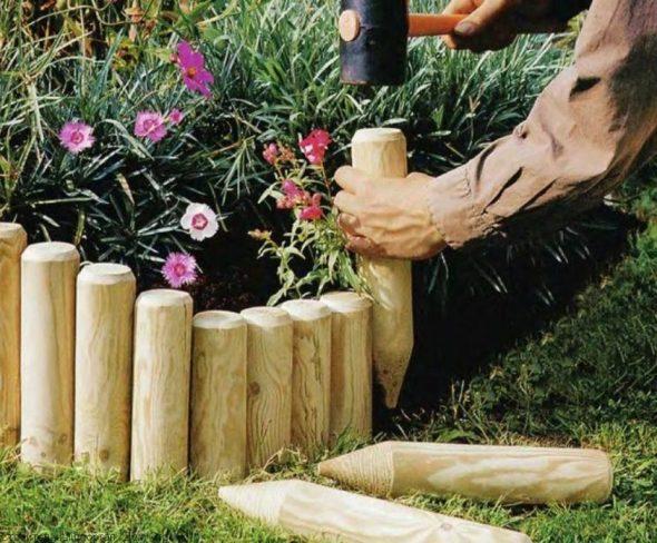 Установка деревянных колышков